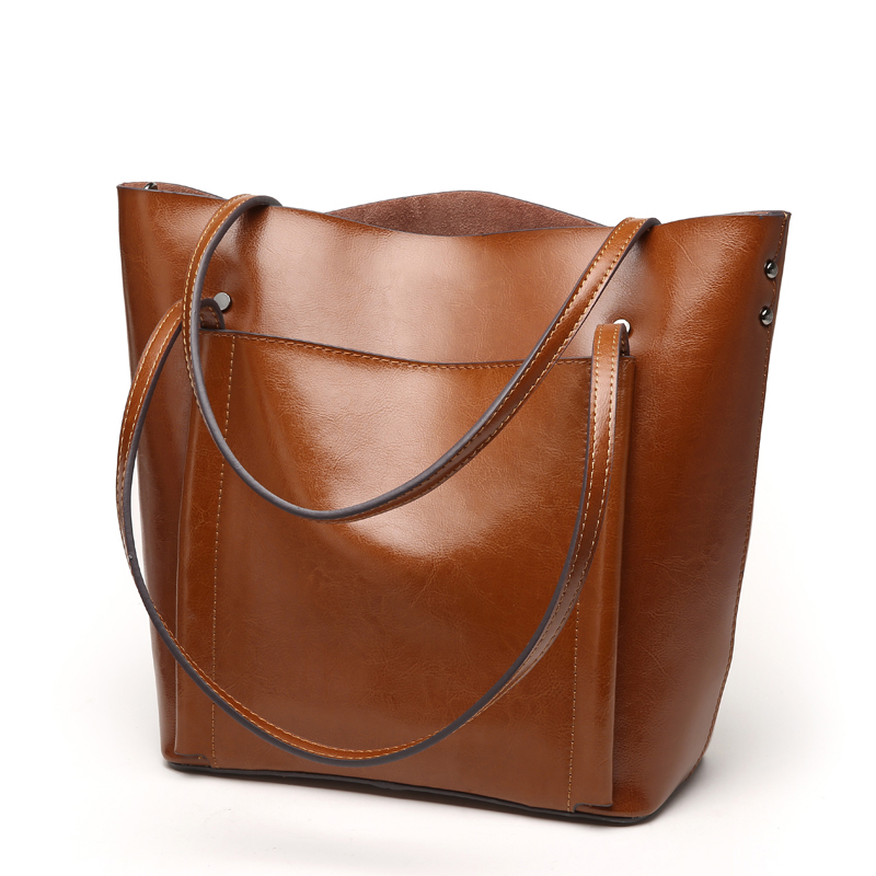 Genuine Leather Tote Bag Luxury Handbags Women Bags Designer Famous Brand Retro Shoulder Bag Oil wax