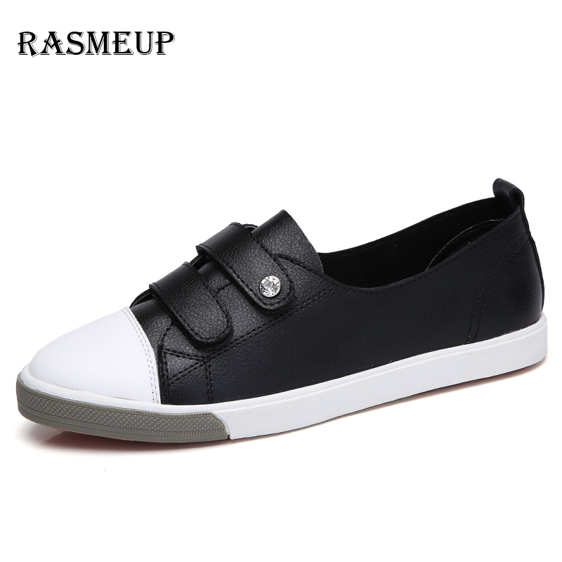 RASMEUP Genuine Leather Women's Flat Sneakers 2018 Spring Women Slip On Ballet Flats Loafers Casual Woman White Soft Shoes цена