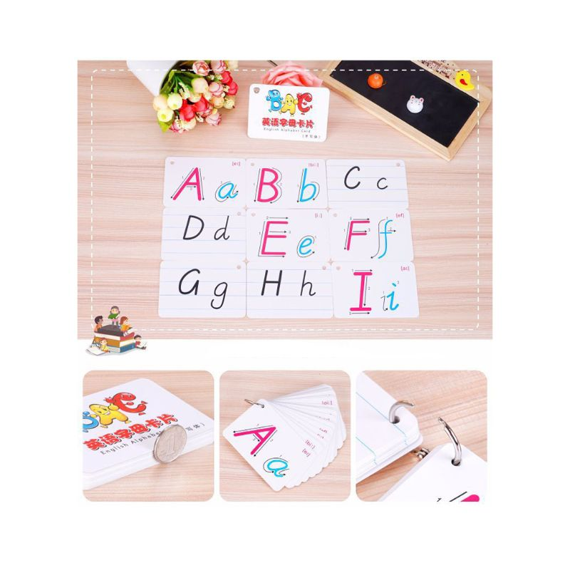 Home 1set 26 Letter English Alphabet Card Ring Buckle Handwritten Pronunciation Early Development Home Learning Educational New