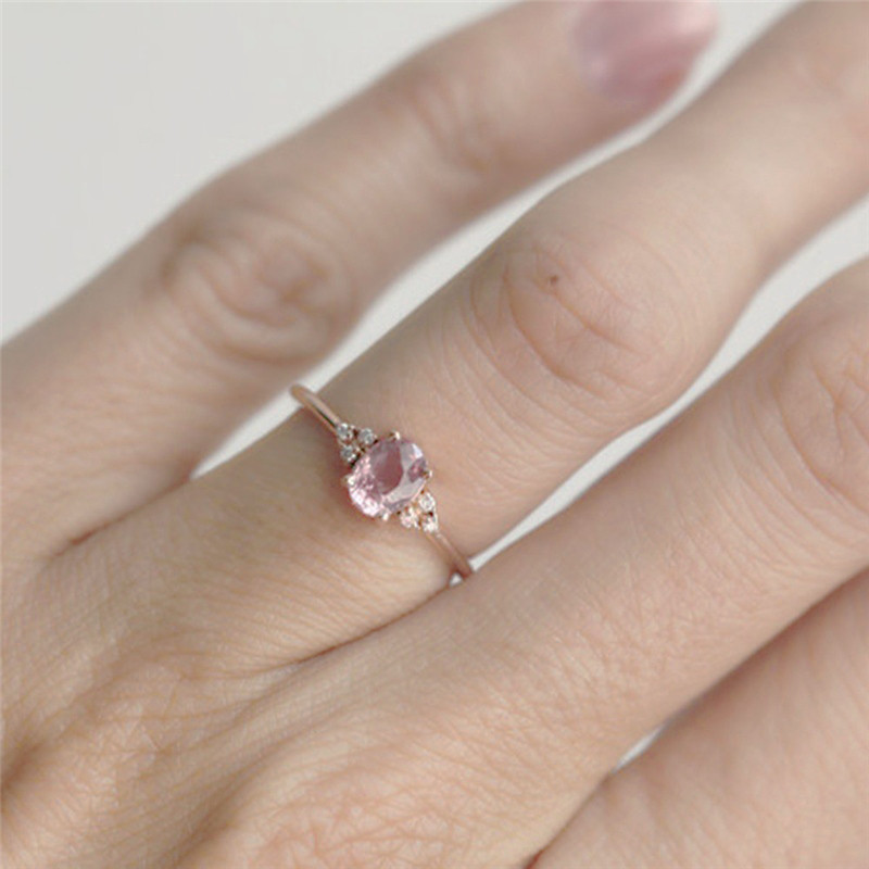 ROMAD Pink CZ Engagement Rings for Women Rose Gold Wedding Ring Dainty Valantine's Gift for Girl Friends Romantic Jewelry R4 1
