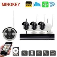Mingkey 2.0MP Wireless Security Camera System 1080P 4CH DVR Kit HD CCTV Camera System Wifi Bullet IR IP Camera Remote View HDD