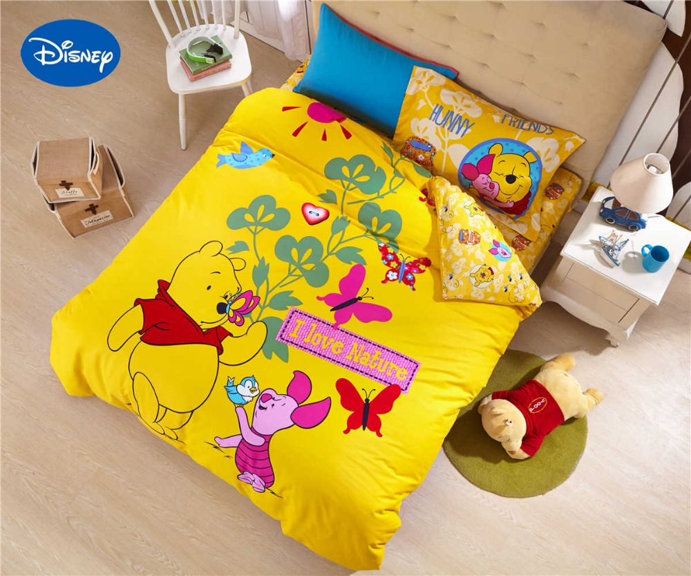 Winnie the pooh toddler bedding - Winnie The Pooh Tiglet Comforter Bedding Set Baby Girl Bed Cover Disney Sanding Cotton Warm Soft