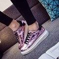 Nova verão e outono novas mulheres sapatos casuais aumentou heavy-fundo plano PU brilhante sapatos