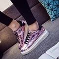 Nuevo verano y otoño nueva plana PU de las mujeres brillantes zapatos casuales aumentaron zapatos de fondo grueso