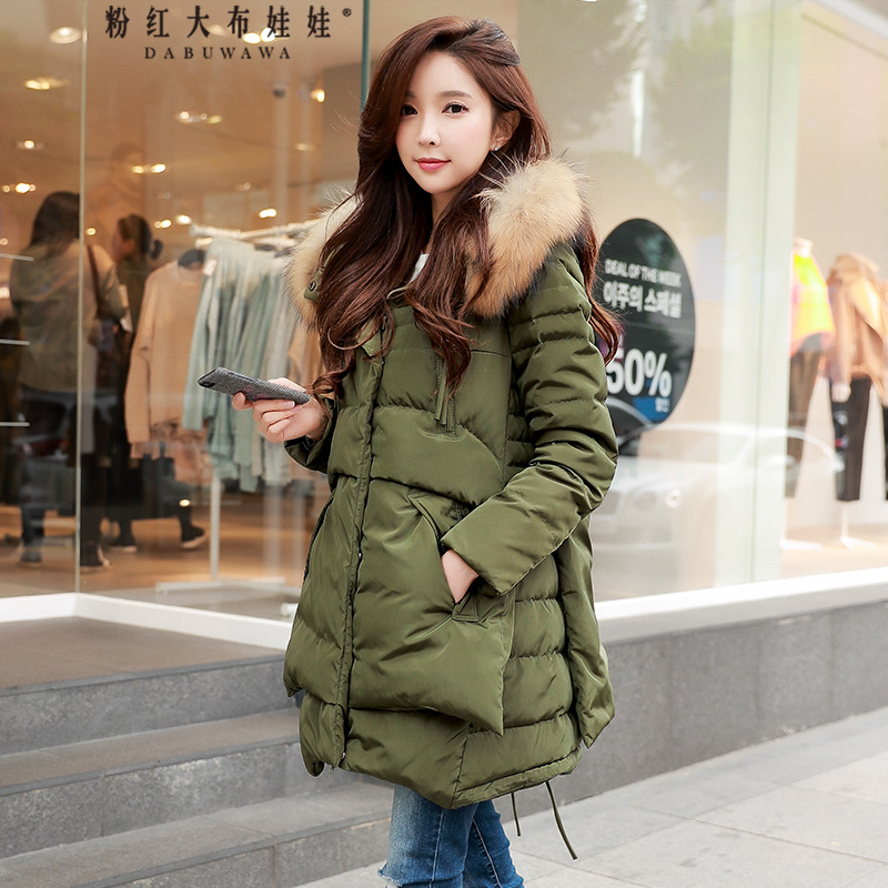 Dabuwawa Winter A Line Hooded Long Down Coat Women Warm Fur Collar Army Green Large Pocket