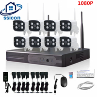 SSICON 2MP HD CCTV System 1080P 8CH Wireless NVR Kit Outdoor IR Night Vision IP Wifi