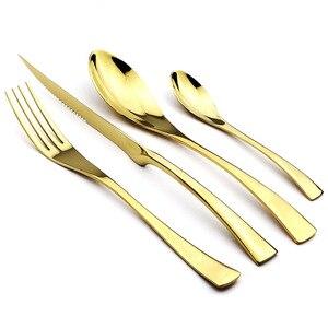 Image 4 - 24 ピース虹黒食器カトラリーセット 18/10 ステンレス鋼食器シャープステーキディナーナイフフォークスプーン食器セット