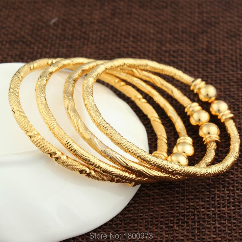 2016 New Dubai Gold Baby Bangle Jewelry  For Boys Girls18K Gold Plated Ethiopian Kids Bangles Bracelet Jewelry table