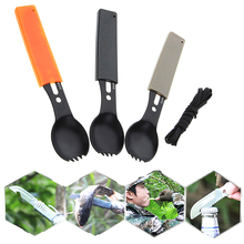 5 in 1 Outdoor Tableware (Fork/Spoon/Knife/Bottle Opener/rope) Camping Stainless Steel Pocket Kits for Hiking Survival Travel