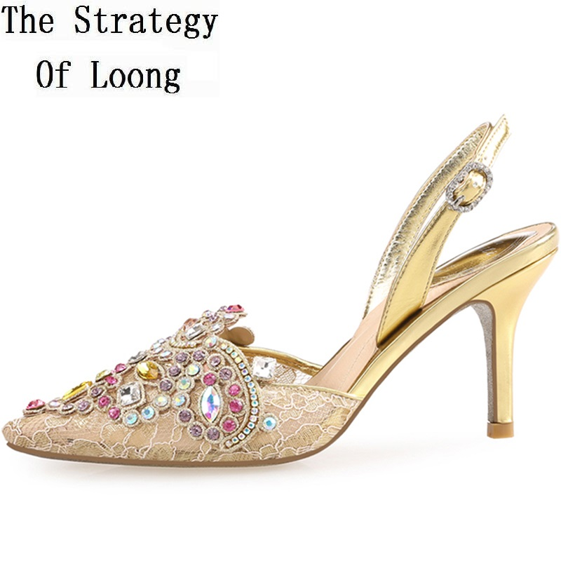 где купить Korean Style Crystal Thin High Heel Pointed Toe Ankle Wrap Lady Rhinestone Sandals 2018 New Fashion Summer Sandal Shoes SXQ0605 по лучшей цене