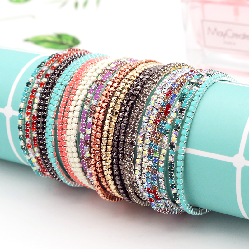 Bangle Bracelet Glittering Full-Rhinestones Chains Jewelry Diy-Accessories Round Colorful