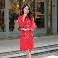 2016 Nova Verão Vestidos de Noiva Cheongsam Tradicional das Mulheres nove pontos Manga Retro vestido de Noiva Vermelho Estilo Chinês CS25