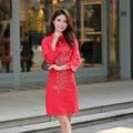 2016 Nuevos Vestidos de Novia de Verano Tradicional Cheongsam de Las Mujeres de nueve puntos de La Manga Retro Rojo de La Boda vestido de Estilo Chino CS25