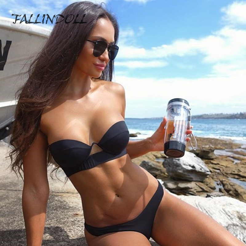 FALLINDOLL 2019 swimwear Women Brazilian Bikini  Push Up Black Vintage wire padded  Bikinis sexy Female maillot de bain femme