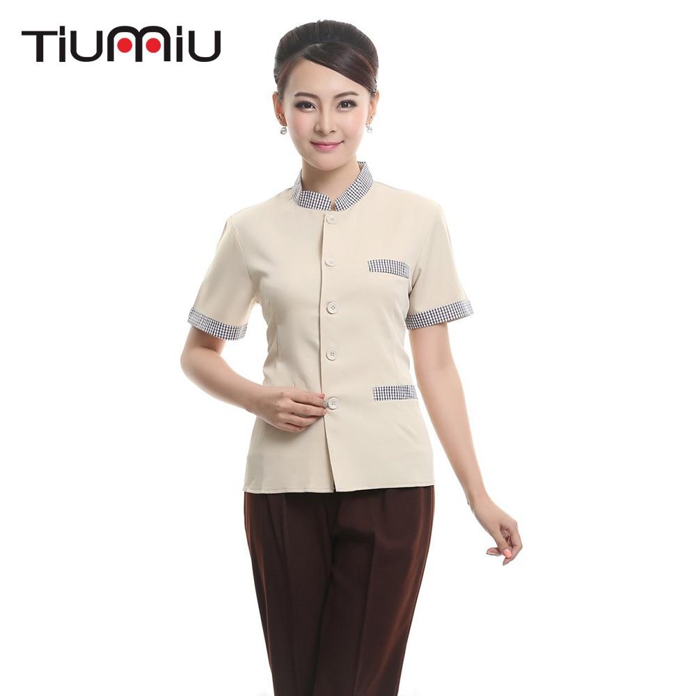2018 Spring Summer New Hotel Restaurant Waiter Uniform Bakery Coffee Shop Workwear Jacket Short Sleeve Special Design Work Cloth
