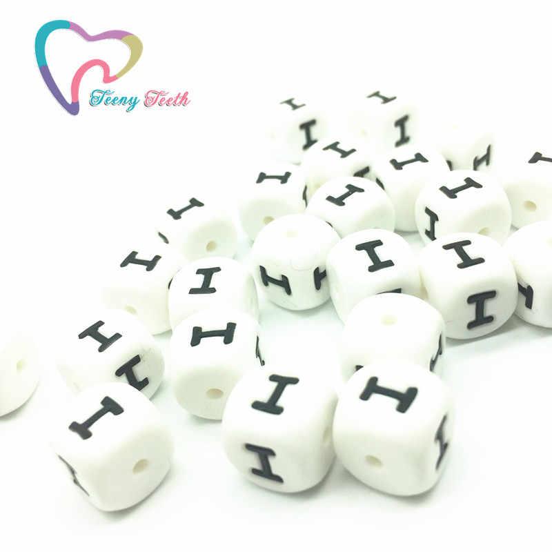 Teeny Răng 10 CÁI Silicone Alphabet Bead, Silicone Tiếng Anh Thư, 12 MÉT Cube Silicone Letter Hạt Cho DIY bé Mọc Răng Vòng Cổ