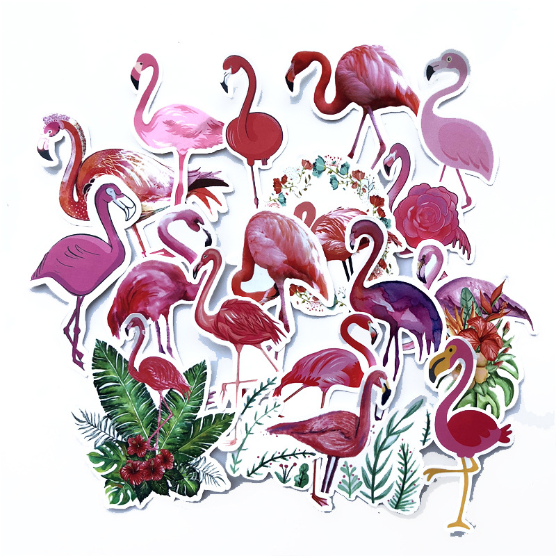 18 PCS Flamingo Sticker Graffiti Travel Funny JDM Stickers for DIY Sticker on Suitcase Luggage Laptop Bicycle Skateboard Car in Stickers from Toys Hobbies