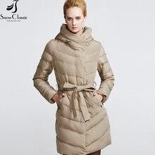 Snow Classic Женский весенний Пуховик 2017 Модный современный дизайн Приталенная куртка высокого качества с капюшеном  16201A