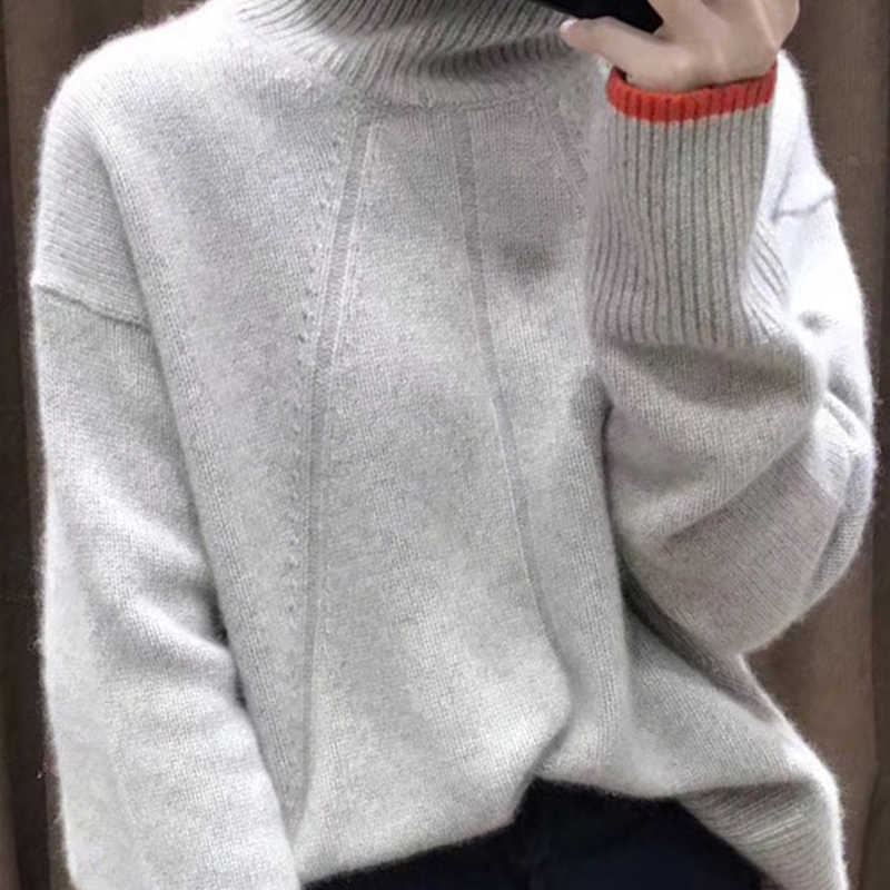 2019 Double thickening loose turtleneck cashmere sweater female casual long sleeve sweater cashmere pullover sweater