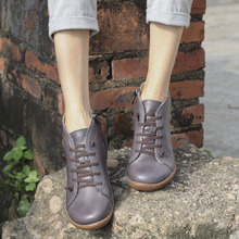 (35-42)Boots Women Shoes Hand-made Genuine Leather Ankle Boots for Women Square toe Zip Ladies Boots Female Footwear (K03)