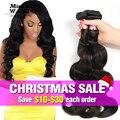 8A Brasileños Virgin Hair Body Wave 3 Bundles Cabello Humano 100% Bundles Natural Color de la Armadura Baratos Paquetes Armadura Brasileña Del Pelo