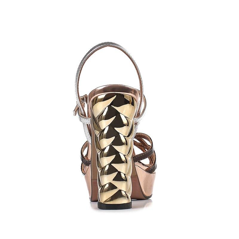 Arden Furtado 2019 sommer high heels chunky heels peep toe schnalle plattform mode gold sandalen partei schuhe größe 33 40 neue-in Hohe Absätze aus Schuhe bei  Gruppe 3