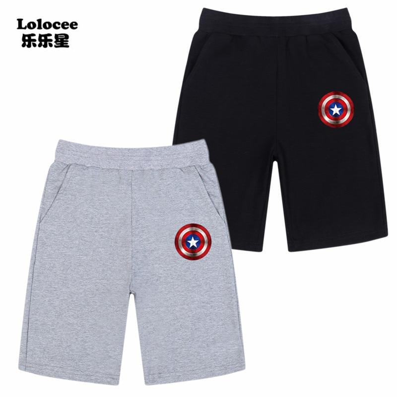 2018 Kids Teens Summer   Short   Trousers Children Pants for baby boys Loose   Shorts   Captain America Print Cartoon Sport   Shorts   3-14y