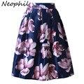 Neophil 2017 Ретро Мода Женщины Черный Белый Плиссированные Цветок Цветочный распечатать Высокой Талией Midi Бальное платье Flare Короткие Юбки Saia S1225