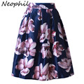 Neophil 2017 Retro Fashion Women Black White Pleated Flower Floral Print High Waist Midi Ball Gown Flare Short Skirts Saia S1225