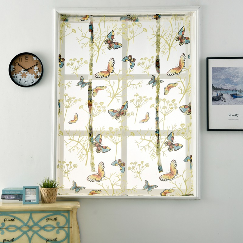 Kitchen Short Sheer Curtains Burnout Roman Blinds Butterfly Sheer Panel Tulle Window Treatment Door Curtains Home Decor