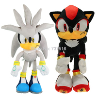 New Sonic Series Form Big Black Shadow & Silver the Hedgehog Soft Doll Plush Justice Flight Silva Stuffed Animal Toys 20 Inch