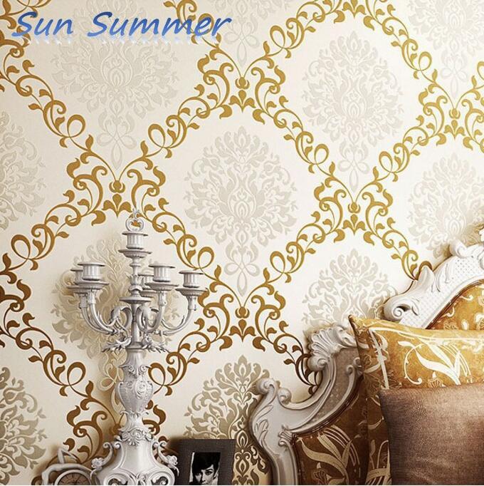 modern damask light yellow papel de parede for decorative 3d wall murals wallpaper