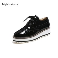 Women Platform Oxfords Brogue Patent Leather Flats Lace Up Shoes Pointed Toe Creepers Vintage Luxury BLACK