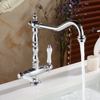 Kitchen Sink Faucets 360 Degree Swivel Classic White Dual Handle Basin Taps Chrome Retro Single Hole torneira cozinha LH 6036L