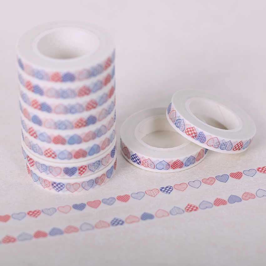 1 Unidad 8mm X 10m amor corazón decorativo Washi Tape bricolaje álbum de recortes papel cinta adhesiva escuela Oficina suministro