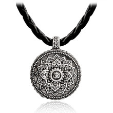 Flower of Life Necklace Yoga Chakra Mandala Pendant Necklace Ancient silver Zen Buddha Buddhism Amulet Religious Jewelry Gift(China)