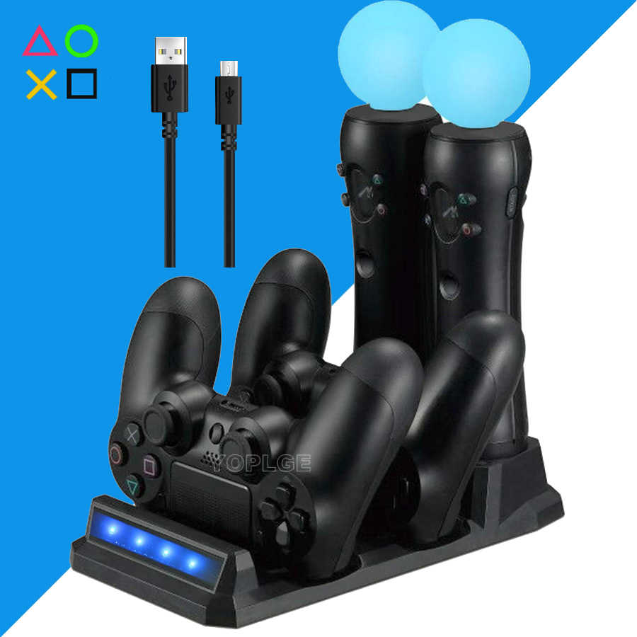 PS4 Slim Pro & PS VR Move Controller Charger Stand LED Gamepad Charging Dock Station for Sony Playstation 4 PSVR Accessories