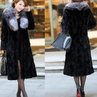 2016 Imitation Mink Fur Female Slim Outerwear Fox Fur Long Overcoat Design Big Sales Promotion Women
