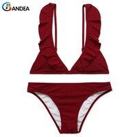 BANDEA Bikini 2017 Ruffle Flounce Swimwear Women Falbala Swimsuit Sexy Padding Top Bikinis Set Mujer Deep