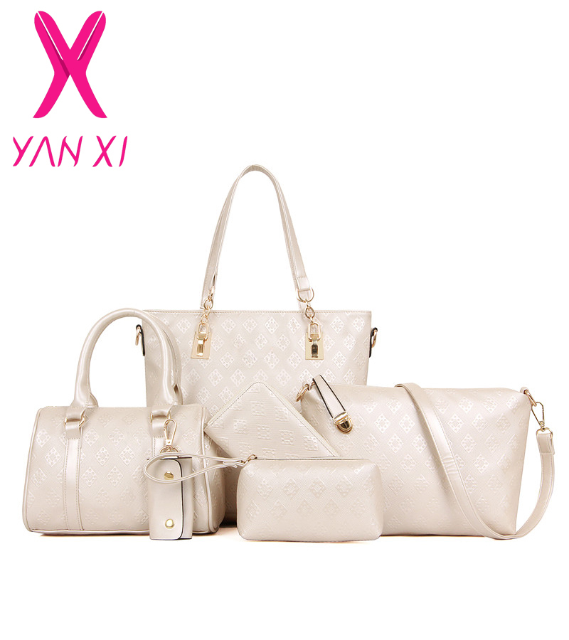 YANXI New 6 sets tote Package Embossing pu leather womens messenger shoulder Pack composite bag ladies