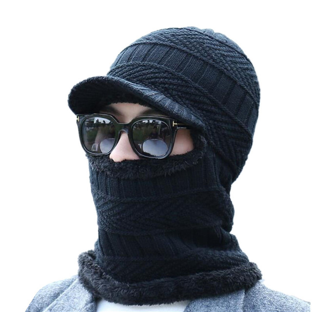 59f9e7814f6 2018 New Balaclava Winter Women Men s Skullies Wool Knitted Balaclava Cap  Ninja Mask Thermal Plush Pocket