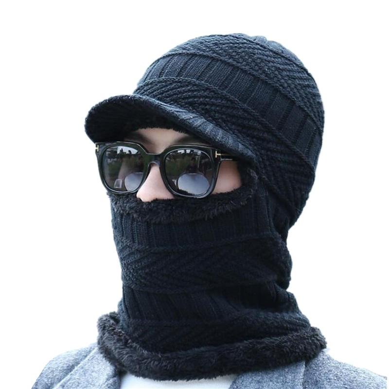 New Balaclava Winter Women Men's Skullies Wool Knitted Balaclava Cap Ninja Mask Thermal Plush Pocket Hat Unisex Snow Cap