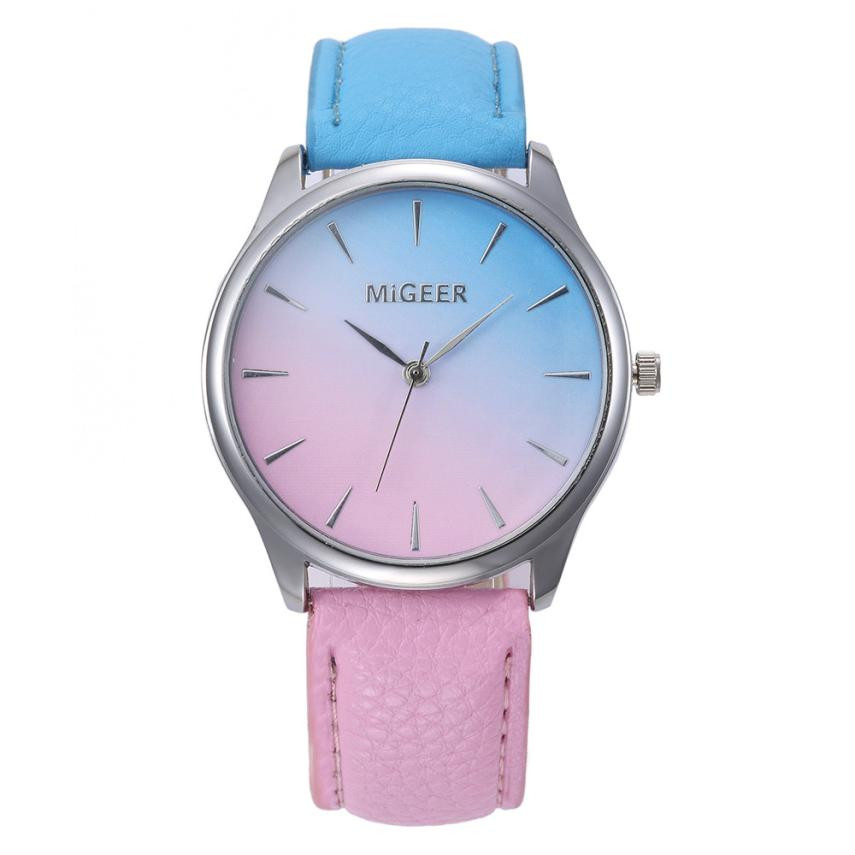 MIGEER Multicolor Print Watch Women Simple Design PU Leather Analog Quartz Wrist Watches Women's Clock Relogio Feminino #Zer lvpai wathces women relogio feminino elegant dress clock retro design pu leather band analog quartz wrist watch