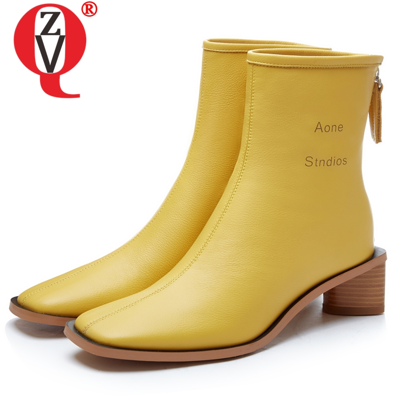 ZVQ brand leather women s shoes winter plush High quality classic 5cm heels ankle boots fashion