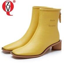 ZVQ العلامة التجارية جلدية أحذية نسائية الشتاء أفخم عالية الجودة الكلاسيكية 5 سنتيمتر الكعوب حذاء من الجلد الأزياء مكتب الأصفر مربع اصبع القدم الجوارب