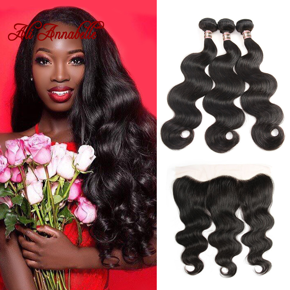 ALI ANNABELLE HAIR Body Wave Brazilian Hair Bundles With Lace Frontal 3 Bundles Remy Hair Weaves 100% Human Hair Bundles-in 3/4 Bundles with Closure from Hair Extensions & Wigs    1