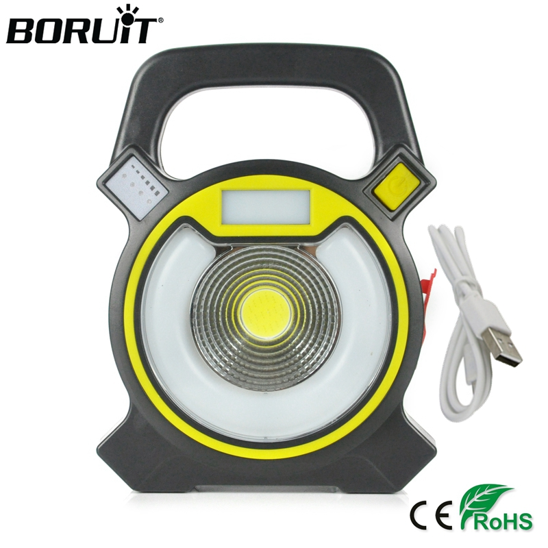 BORUiT 15W COB LED Portable Floodlight Lantern Outdoor Waterproof 4-Mode Emergency Spotlight Lamp for Camping Hiking Tent Light
