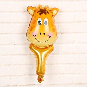 Image 4 - 6 sztuk balony foliowe z główką zwierzęcą safari, zoo ręczny nadmuchiwany balon powietrza Baby Shower dekoracje na przyjęcia urodzinowe prezenty dla dzieci