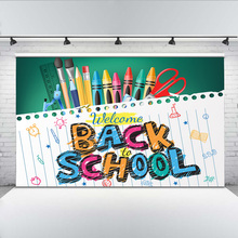Mehofoto Welcome Back to School Photographic Background for Students Pen and Notebook Backdrop Computer Printing Banner