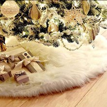 1pc Creative White Plush Christmas Tree Skirt For Christmas Tree Decoration New Year Home Party Supplies